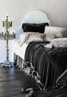 beautiful velvet bedding & candelabra <3