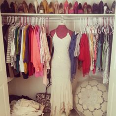 You do what you can with a little closet. Love the shoes!