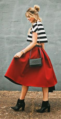 Red Midi Skirt With a Striped Crop and Chunky Boots