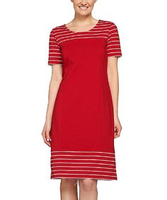 Look what I found on #zulily! Apple Red Stripe Shift Dress - Plus Too by Denim & Co. #zulilyfinds
