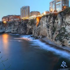 LEBANON, A VIEW OF RAOUCHE' AT DUSK