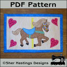 PDF Pattern for Carousel Horse Mug Rug, Carousel Horse Mug Rug Pattern, Horse Mini Quilt Pattern - Sewing Pattern, Tutorial, DIY