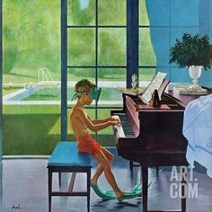 """Poolside Piano Practice,"" June 11, 1960 Giclee Print by George Hughes at Art.co.uk"