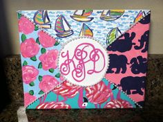 Lilly Pulitzer canvas that I made for my little! Add her monogram for an extra special touch!
