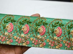 Green Embroidered Wholesale Trimmings Ribbon Saree Border Fabric Trim By The Yard Indian Sari Border gold indian trim