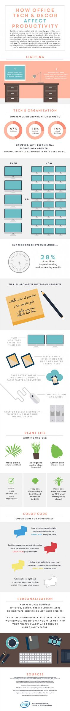 "We've already covered how to design a better workspace. If back then we didn't convince you that rearranging a few items and changing the lighting can substantially improve your comfort and productivity, we think the amazing infographic we're presenting you with today will. Created by Allison Lehman and Everygirl for Intel, the infographic called ""How Office…"
