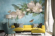 Floral Wallpaper Gardenia Flower Wall Mural White Nordic Floral Wall Paper Scandinavian Home Decor C