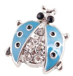 2eb5401ca Silver Blue Rhinestone Lady Bug 20mm Snap Charm For Ginger Snaps Jewelry