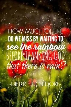 How much of life do we miss by waiting to see the rainbow before thanking God that there is rain.