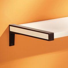 Dolle BELT metal shelf bracket close up shown with Sumo wooden shelf
