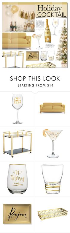 """Holiday Cocktails"" by mada-malureanu ❤ liked on Polyvore featuring interior, interiors, interior design, home, home decor, interior decorating, Joybird Furniture, Sunpan, Qualia and Fringe"
