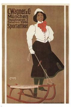 vintage POSTER FOR A SPORTS-GOODS SHOP carl moos germany 1907 24X36 HOT rare