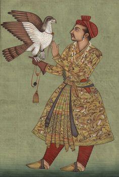 mughal miniature painting | mughal miniature painting akbar with falcon subject…