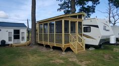 Porch on a camper by leisure time decking greensboro nc . Camper Life, Rv Campers, Camper Trailers, Travel Trailers, Rv Life, Porch For Camper, Trailer Deck, Rv Homes, Travel Trailer Remodel