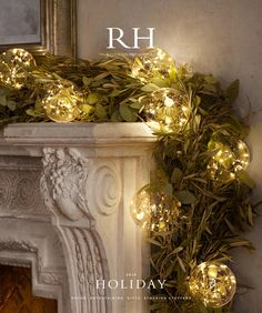 RH Source Books love the herb-look of the garland, nice alternative to evergreen bows. Would fresh heather, bay, etc. stay fresh all season? Christmas Mantels, Christmas 2015, All Things Christmas, Christmas Crafts, Christmas Fireplace Garland, Victorian Christmas, Pink Christmas, Christmas Balls, Christmas Christmas
