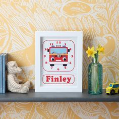 Image of Personalised Transport Clocks Telling Time, Frame Sizes, Gifts For Boys, Clocks, Tractors, Playroom, Transportation, Unique Gifts, Nursery