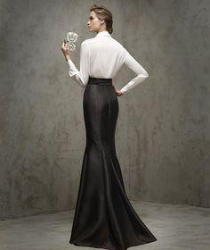 ALBERDI - Saia comprida preta elegante