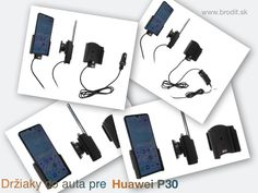 Nové držiaky do auta pre Huawei P30. Pasívny držiak Brodit pre pevnú montáž v aute, aktívny s CL nabíjačkou, s USB alebo s Molex konektorom. Apple Iphone, Samsung Galaxy, Usb