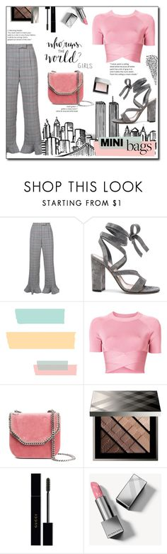 """""""Have fun : NYC"""" by devaanggraenii ❤ liked on Polyvore featuring Rosie Assoulin, Gianvito Rossi, T By Alexander Wang, STELLA McCARTNEY, Burberry and Gucci"""
