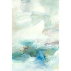 The blue and blue green abstract reproduction has soft colors that almost melt together in a watercolor-like fashion. Subtle yet colorful this blue abstract has