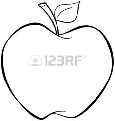Outlined Cartoon Apfel Stockfoto