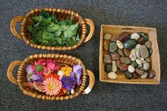 Natural materials in block area to promote story telling.