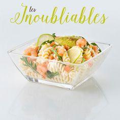 La Coquette : salade de pâtes aux crevettes, guacamole, citron vert et sauce agrumes
