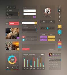 Web UI Kit by Ramil Derogongun, via Behance