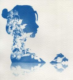 This Cyanotype print by Brenda Introcaso came out extremely well. The silhouette of the woman and flowers are crisp and clear and I really enjoy how well the reflection of the woman and flowers came out. Papel Fabriano, Cyanotype Process, Sun Prints, Alternative Photography, Experimental Photography, Foto Art, Shibori, Fine Art Photography, Art Inspo