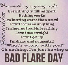 Fibromyalgia flares. Except mine has been in a constant flare since I had cancer. This disease is hideous.