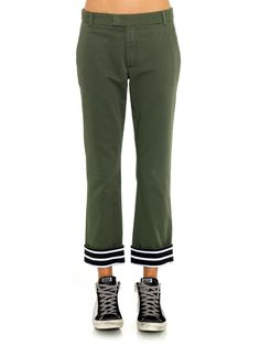 Band Of Outsiders Cotton contrast-cuff trousers