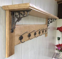 Details about Vintage Style Solid Wood Oak Coat Rack with Shelf – Country Home. - Details about Vintage Style Solid Wood Oak Coat Rack with Shelf – Country Home- GNER – - Coat Rack Shelf, Diy Coat Rack, Coat Racks, Rustic Coat Rack, Coat Hanger, Solid Oak, Wall Shelves, Wood Shelf, Diy Furniture