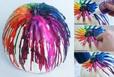 Crayon Drip Pumpkin tutorial by This could make a cool Halloween decoration with red and black crayons. Theme Halloween, Holidays Halloween, Halloween Pumpkins, Halloween Crafts, Vintage Halloween, Halloween Decorations, Halloween Costumes, Halloween Fashion, Halloween 2018