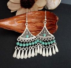 Your place to buy and sell all things handmade Tribal Earrings, Turquoise Earrings, Turquoise Beads, Chandelier Earrings, Drop Earrings, Boho Jewelry, Unique Jewelry, Antique Earrings, Antique Silver