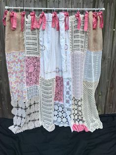 Shower Curtain Shabby Chic Cottage Chic Vintage Crochet Vintage Embroidery Vintage Fabric Bows Bathroom Decor Home Decor