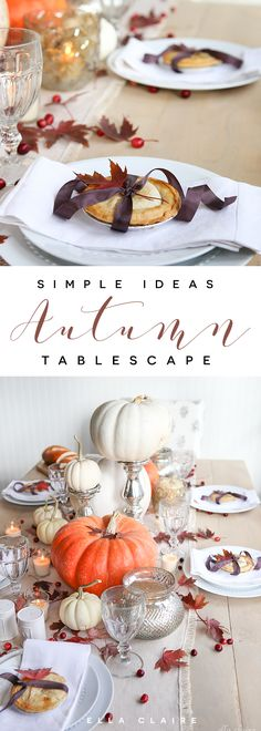 Mini pies add the perfect personalized touch to a beautiful Autumn tablescape- the warm colors, leaves, pumpkins, and mercury glass are so pretty for Fall.
