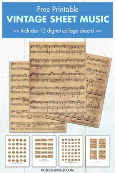 10 FREE printable vintage sheet music pages, plus 12 FREE vintage sheet music digital collage sheets! Circles, squares, rectangles, and ovals in various sizes including ATC-size and cameo-size. Perfect for custom wall art and numerous DIY projects. Sheet Music Crafts, Old Sheet Music, Vintage Sheet Music, Vintage Sheets, Vintage Paper, Print Sheet Music, Printable Sheet Music, Printable Paper, Printable Vintage