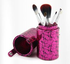 makeup brush set with cosmetic case tube