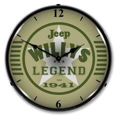 """Antique Style """" Jeep Willys - Legend since 1941 """" LED Lighted - Backlit Clock Plywood Furniture, Vintage Walls, Vintage Signs, Vintage Stuff, Eames, Jeep Wrangler Renegade, Wrangler Tj, Wall Clock Light, Wall Clocks"""