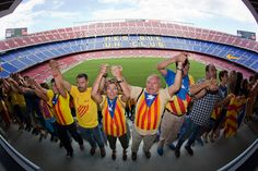 #Catalans link arms in a bid to create a 400-kilometre (250-mile) #humanchain, part of a campaign for #independence from Spain during #Catalonia National Day, or #Diada, at FC Barcelona's #CampNou stadium in #Barcelona, on September 11, 2013 (AFP Photo / Quique Garcia) #CatalanWay #ViaCatalana #Catalunya #Catalonia