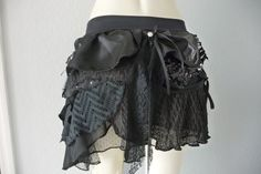 Burlesque Bustle / Hip Scarf / Wrap / Belly Dance  / Pixie Skirt Gothic dark fairy victorian upcycled Costume