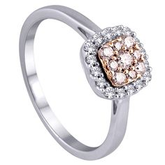 ⅓ ct TW Natural Pink and White Diamond  cushion cluster ring in 14k white and rose gold.