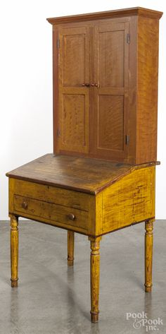 "Pennsylvania painted pine work desk, 19th c., with a contemporary painted pine secretary top, 78 1/4"" h., 35"" w."