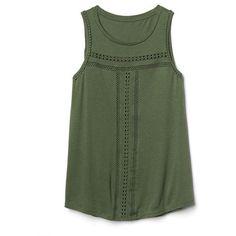 Gap Women Crochet Swing Tank ($30) ❤ liked on Polyvore featuring tops, shirts, tank tops, jungle green, regular, crochet top, green sleeveless shirt, crochet tank, sleeveless tank tops and green tank