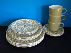 Crown Lynn Clematis Dinneware Set - Vintage Retro Flower Power Tea Cups Trios Dinner Plates - Made in New Zealand Pat No 141