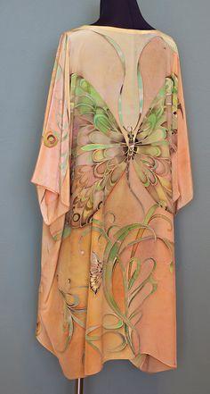 Hand Painted Silk Caftan Dress Silk Tunic Kaftan Dress Butterfly Top Ready to Ship