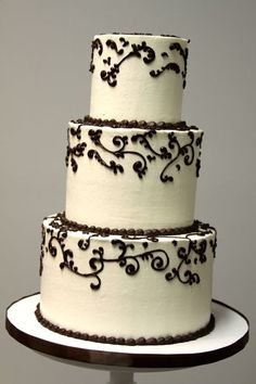 Brown and White Piped Buttercream Swirl Cake. Wedding Cakes Gallery « Sweet & Saucy Shop Sweet & Saucy Shop