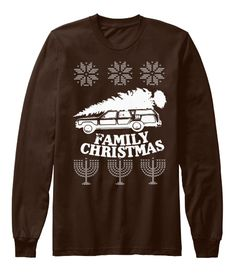 Family Christmas Brown Long Sleeve T-Shirt Front
