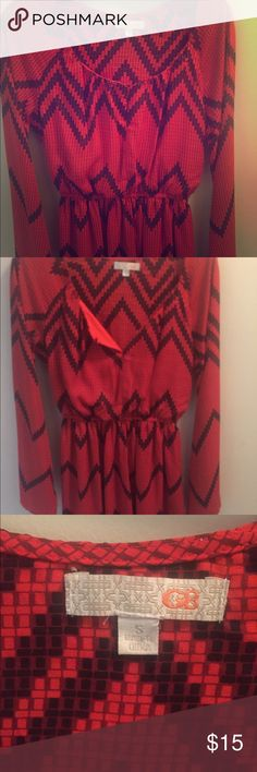 Red and black chevron dress Excellent used condition  Never worn Pet free and smoke free home Dresses Midi
