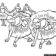 Degas Coloring Pages | Edgar Degas - dancers, ballerinas coloring page